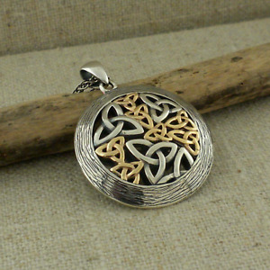 Sterling Silver & 10K Celtic Trinity Knot Pendant with Bark Trim By Keith Jack