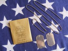 Original WW2 US Army Dog Tags & Chains Set Dated 1945 / 1944 New old stock