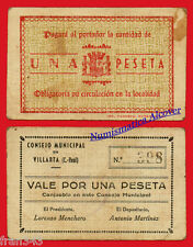 RARO Billete local VILLARTA Ciudad Real 1 Peseta 1937 BC / F