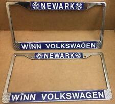 NOS RARE PAIR VW ( NEWARK • VOLKSWAGEN ) DEALER-LICENSE PLATE FRAMES-VINTAGE