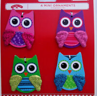 "4 Christmas ini ornaments colorful owls pink purple green turquoise 2"" tall"