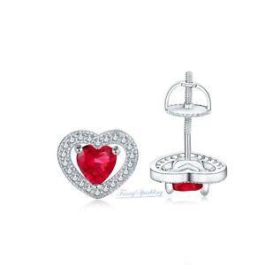 2Ct Ruby Earrings Birthstone Diamond Halo Stud Earrings in 14K White Gold Over