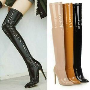 Women's Thigh High Boots Patent Leather High Heels Boot Over Knee Stiletto Shoes
