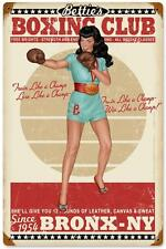 Bettie Page Pin Up Girl Boxing Club Bronx Metal Sign Man Cave Garage Shop RGG026