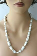 """Vintage 24"""" Large Baroque South Sea White Pearl Organic Strand Necklace 112 Gram"""