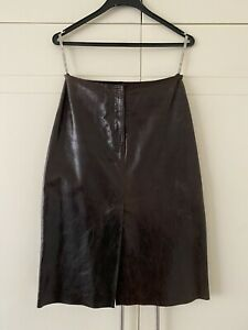Witchery brown leather skirt