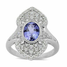 Tanzanite White Zircon Ring 925 Sterling Silver Jewelry for Women Size 7 Ct 1.5