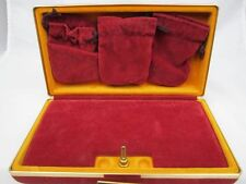 VIntage Hardshell Travel jewelry box case Velvet lining 3 Drawstring pouches Sna