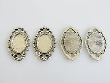 10 Antique Silver Cameo Cabochon Pendants Tray Connector Settings 13x18mm Blanks