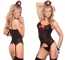 Women Sexy Nurse Outfit Body Costume Bodysuit Teddy Top Stretch Fancy Dress