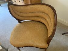 Art Deco Side Chairs Hand Carved Wood Upholstered Pair Excellent Condition
