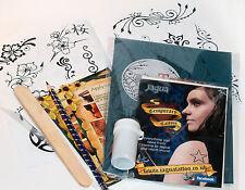 Lrg Black Jagua Henna Tattoo Pro Kit inc designs and transfer kit ti