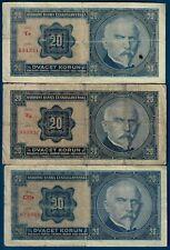 Czechoslovakia 20 korun 1926, P21, NOT perforated, 3 different series!