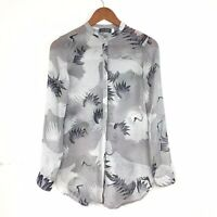 Mint Velvet Blouse Shirt Grey Semi Sheer Crane Heron Bird Print Blogger Sz 8 UK