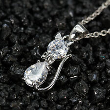 925 Silver Lovely Crystal Cat Charms Necklace Pendant Xmas Gift Jewelry