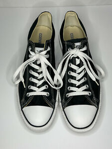 Black CONVERSE CHUCK TAYLOR ALL STAR LOW TOP Sneakers - Size Mens 12 Womens 14