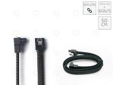 BLACK SATA3 - 6Gbps Nylon Braided Cable Sleeved Locking Right-Angle 50 cm Sata 2
