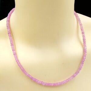 BAILYSBEADS zarte pink Saphir Halskette Kette Collier Rondelle 3x5mm neu B-P08