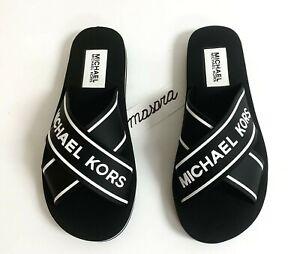 Women MK Michael Kors Sparrow Slide Sandals MK Graphite Black