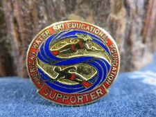 Vintage Enamel American Water Ski Association Supporter Red Blue Pin Rp3