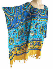 Ladies multicolored PAISLEY PRINT Kaftan Poncho Tunic beach large plus size new