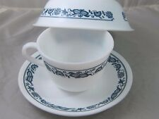 Vintage Coffee Cup Corning Corelle USA Town Blue Onion Milk Glass Bowl SaucerVin