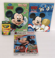 4pc Disney Mickey Mouse Fun Coloring Activity Books, Sticker Story Set, Crayons