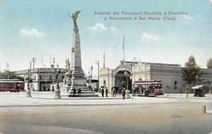 LIMA, PERU, CHORILLOS DISTRICT TROLLEYS & STATION, SAN MARTIN STATUE 1907-20