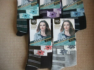 Ladies/girls cotton socks, by Leonfit sizes 3-5 or 5-7,Floral