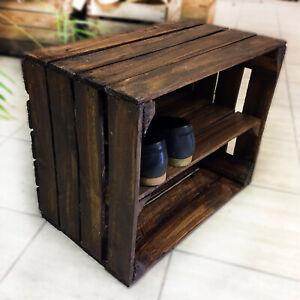 1 Rustic DARK WOOD Shoe Rack Stand Storage Cabinets Cupboards Organiser Display