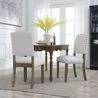 Contemporary Classic Dining Chair Set of (2) Padded Nailhead Trim w/ Wood Legs