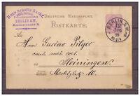 Deutsches Reich, Ganzsache P 18 I Berlin nach Heiningen 03.06.1889