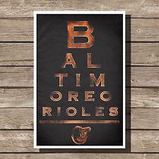 "Baltimore Orioles Art Baseball MLB Eyechart Poster Man Cave Decor 12x16"""