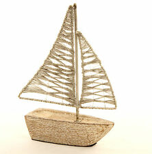 Shabby Chic Distressed Limed White Wood  & Wire Sails Sailing Boat Yacht Seaside