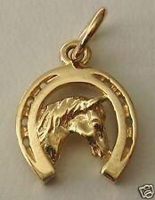 GENUINE 9ct Yellow GOLD HORSE HEAD in HORSESHOE CHARM/PENDANT