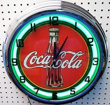 "17"" Drink Coca-Cola 30s Bottle Logo Coke Sign Neon Clock"