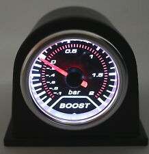 "2"" 52mm Car Universal Bar Turbo Boost Gauge Meter Smoke w/ Flat Blk Pod"