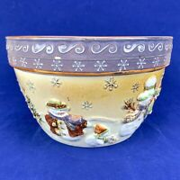 St Nicholas Square FOREST FRIENDS Hand Painted Embossed Snowman Serving Bowl