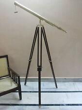 ANTIQUE BRASS TELESCOPE WITH WOOD TRIPOD STAND VINTAGE NAUTICAL MARINE DECOR