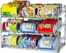 Food Can Rack Stackable Organizer Chrome Can Dispenser 36 Cans Adjustable Sizes