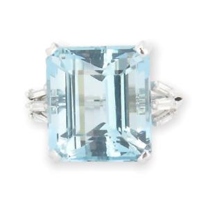 .Handmade 18.25ct Aquamarine & 0.42ct Diamond 14k White Gold Ring L Val $22200