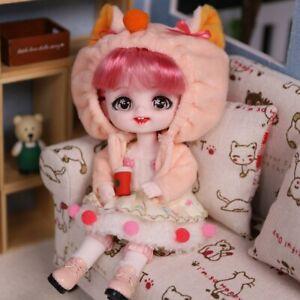 BJD Doll 1/8 Animal Dress Girls Doll Ball Jointed Doll with Makeup Mini Kid Xmas