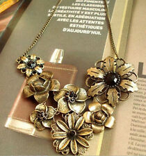 Gorgeous Vintage With Black Rhinestone Bronze Chain Pendant Retro Necklace