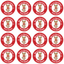 24 x 40MM MERRY CHRISTMAS FROM SANTA REINDEER STICKERS KIDS GIFTS TAG PRESENTS