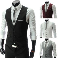 Mens Waistcoat Formal Business Suit Retro Vest Slim Fit Wedding Casual Coat Tops