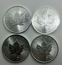 2020  2018  Silver Maple Leafs 1 Ounce Coins Lot of 4 Pieces 2 each Date