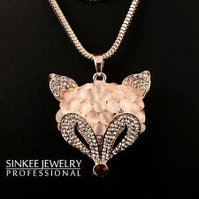 2016 Charm Solid Opal Fox Animal Pendant Long Necklace Chain For Women My264
