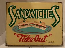 "Old Vtg Marty Mummert Metal Advertising Sign Sandwiches ""Take Out"" Usa"