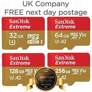 SanDisk Extreme 32GB 64GB 128GB 256GB Micro SD Memory Card TF SDXC A2 U3 160MB/s