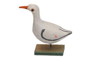 A small hand carved wooden seagull Scandinavian Folk Art sculpture Vintage